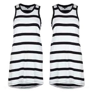 Hurley Sleeveless Striped Dress W Scallop Hem